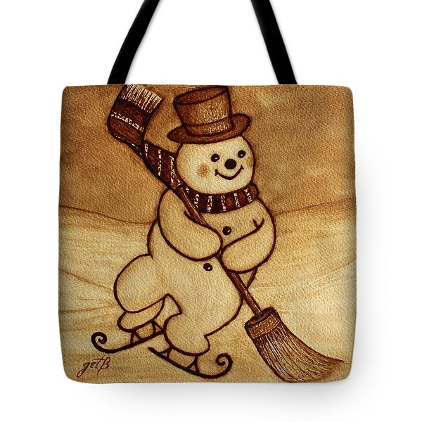 Tote Bag featuring the painting Joyful Snowman  Coffee Paintings by Georgeta  Blanaru
