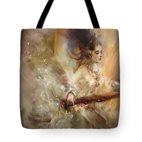Tote Bag featuring the digital art Joyment by Te Hu