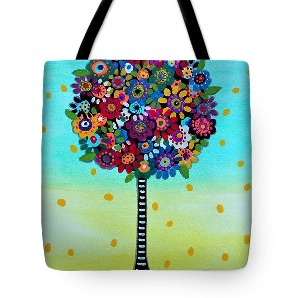Tote Bag featuring the painting Jubilant Tree Of Life by Pristine Cartera Turkus