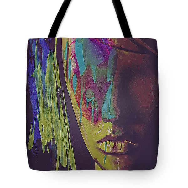 Tote Bag featuring the digital art Judgement Figurative Abstract by Galen Valle