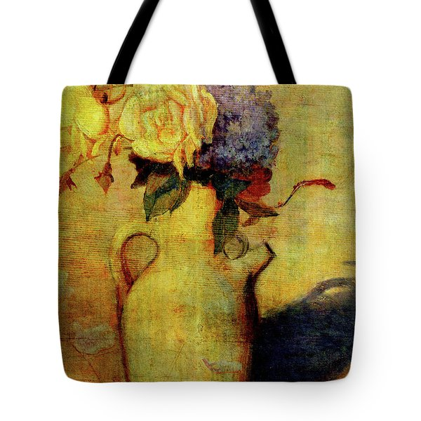 Jug With Yellow And Violet Flowers Tote Bag