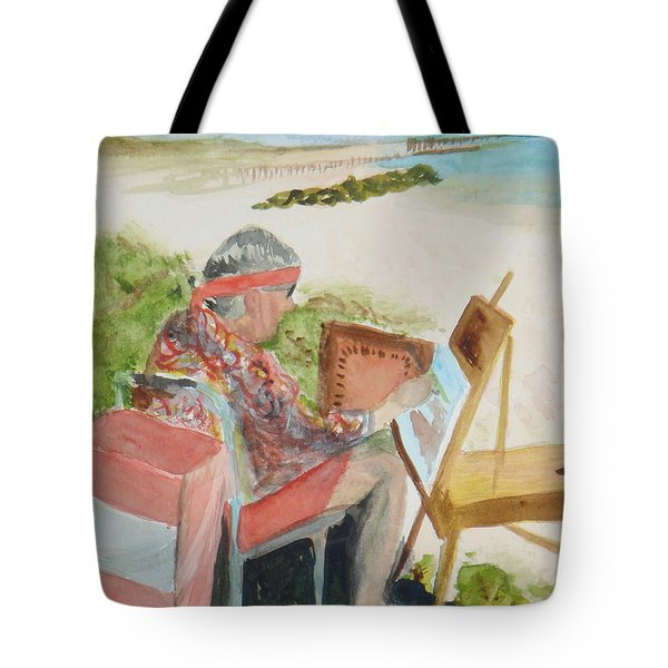 Tote Bag featuring the painting Julia Painting At Boynton Inlet Beach  by Donna Walsh