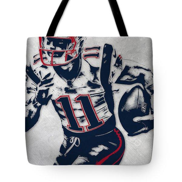 Julian Edelman New England Patriots Pixel Art 4 Tote Bag
