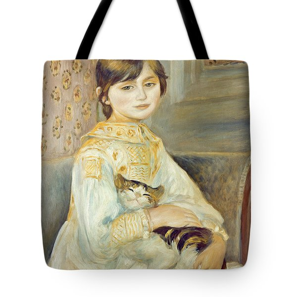 Julie Manet With Cat Tote Bag by Pierre Auguste Renoir