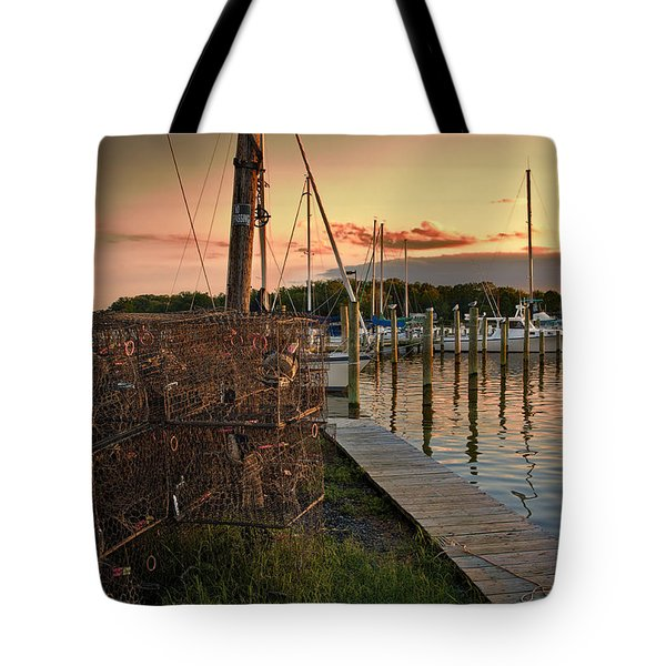 Crab Pots And Sailboats Tote Bag