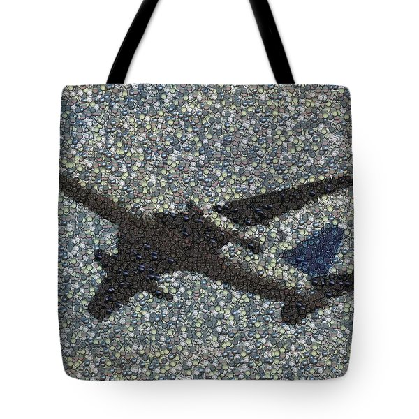 Tote Bag featuring the mixed media Jumbo Jet Airplane Made Of Cockpit Panel Dials Mosaic by Paul Van Scott
