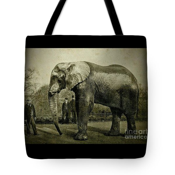 Tote Bag featuring the photograph Jumbo The Elepant Circa 1890 by Peter Gumaer Ogden
