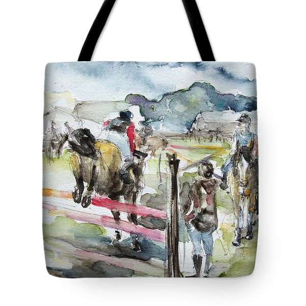 Jumping A Course Tote Bag by Barbara Pommerenke