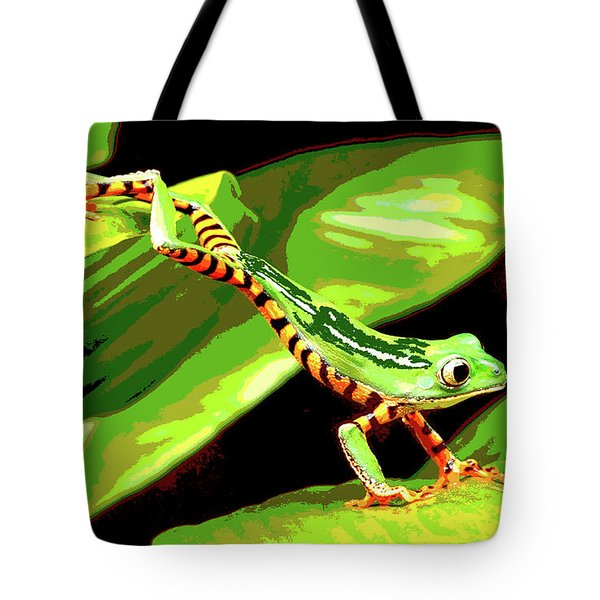 Tote Bag featuring the mixed media Jumping Frog by Charles Shoup