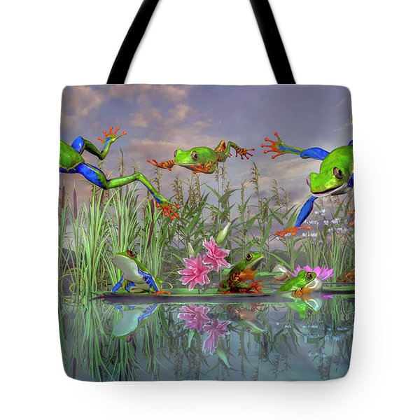 Jumping Joy Spring Time Frogs Tote Bag