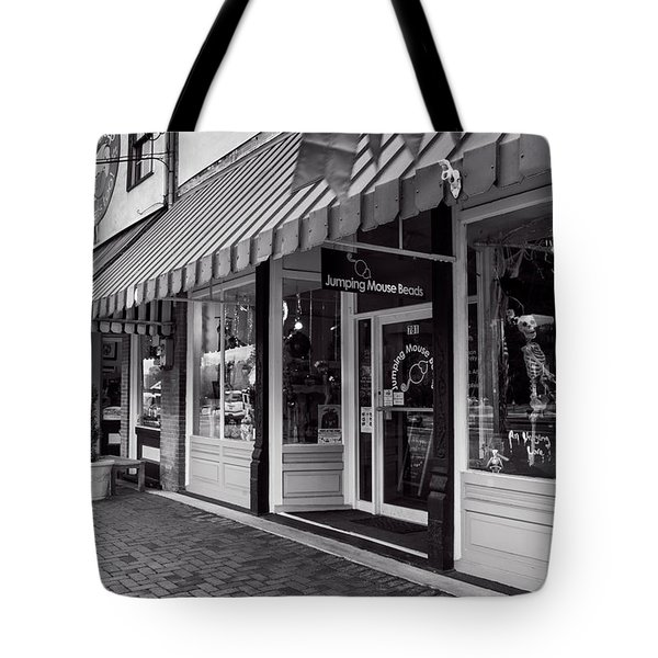 Jumping Mouse In Blue Ridge Black And White Tote Bag