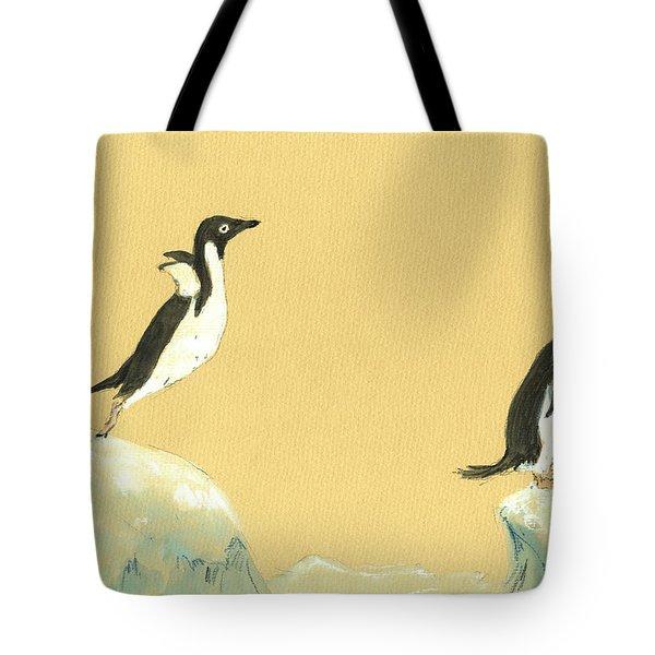 Jumping Penguins Tote Bag