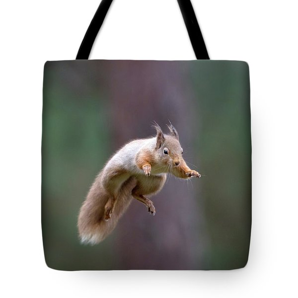 Jumping Red Squirrel Tote Bag