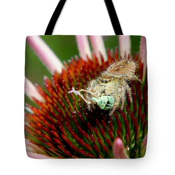 Jumping Spider With Green Weevil Snack Tote Bag