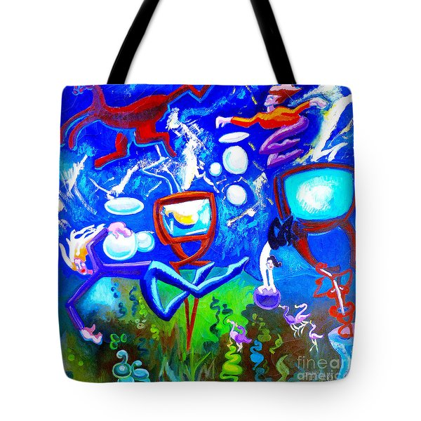 Tote Bag featuring the painting Jumping Through Tv Land by Genevieve Esson