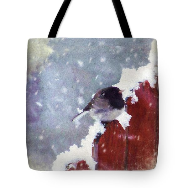 Tote Bag featuring the digital art Junco In The Snow, Square by Christina Lihani