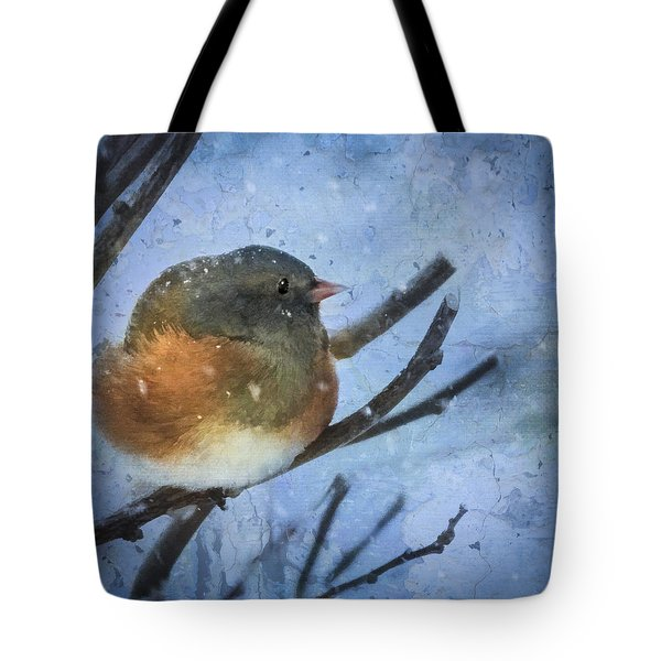 Tote Bag featuring the digital art Junco On Winter Day by Christina Lihani