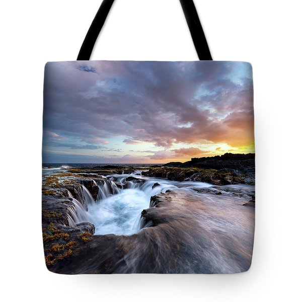 June Blow Hole Sunset Tote Bag