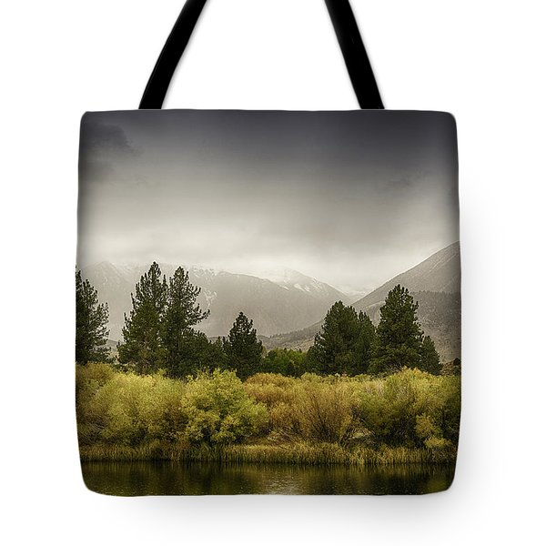 June Lakes Loop In The Autumn Rain Tote Bag