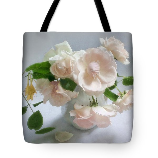 June Roses With Honeysuckle Tote Bag by Louise Kumpf