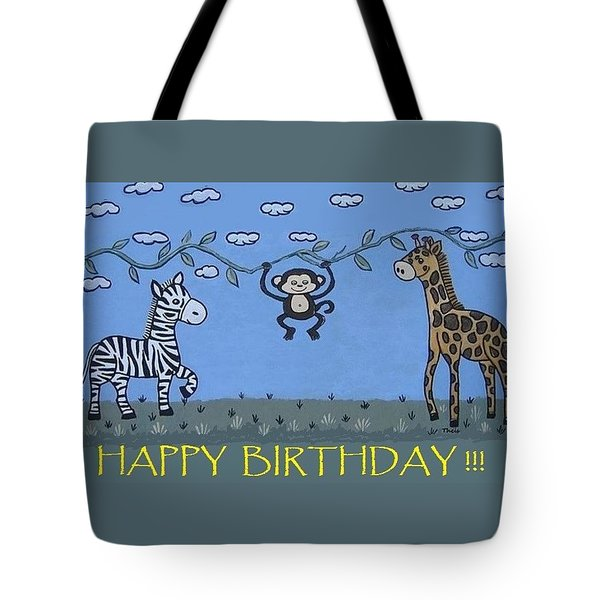 Jungle Animals Happy Birthday Tote Bag
