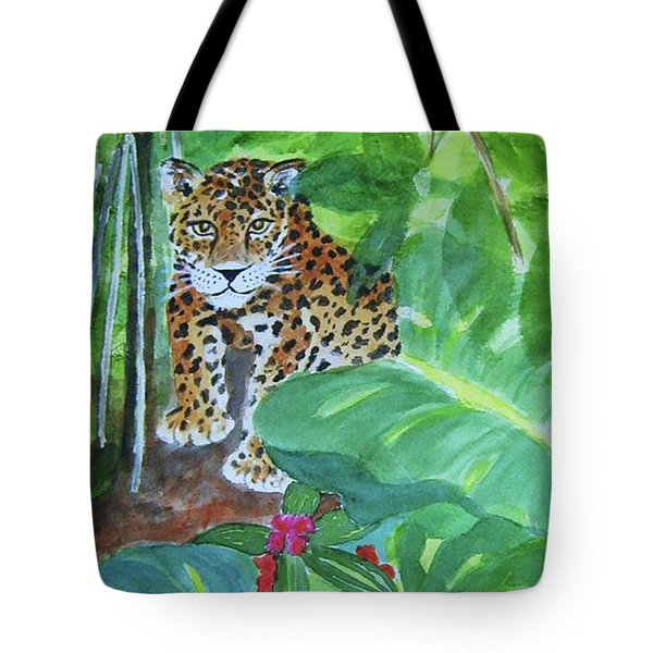 Tote Bag featuring the painting Jungle Jaguar by Ellen Levinson