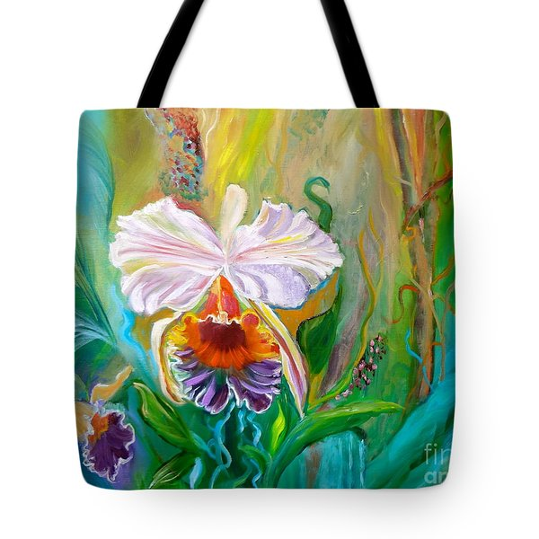 Jungle Orchid Tote Bag by Jenny Lee