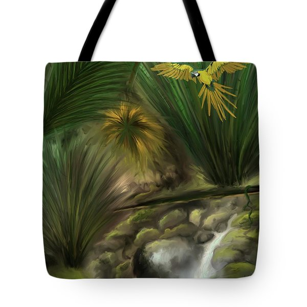 Tote Bag featuring the digital art Jungle Parrot by Darren Cannell