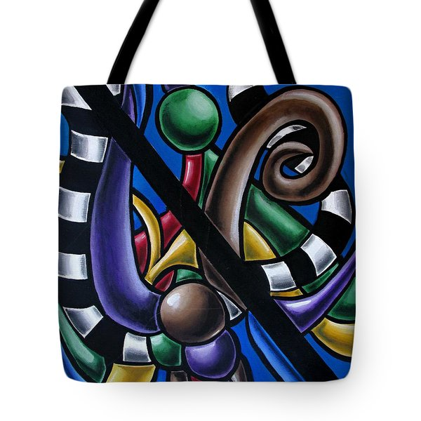 Jungle Stripes 2, Colorful Chromatic Abstract Artwork Tote Bag