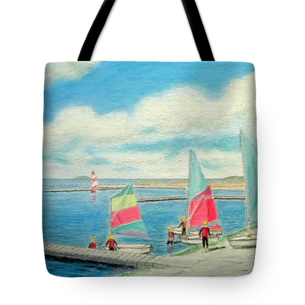 Junior Sailing School, West Kirby Marine Lake Tote Bag by Peter Farrow