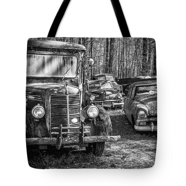Junked Mack Truck Ad Old Plymouth Tote Bag
