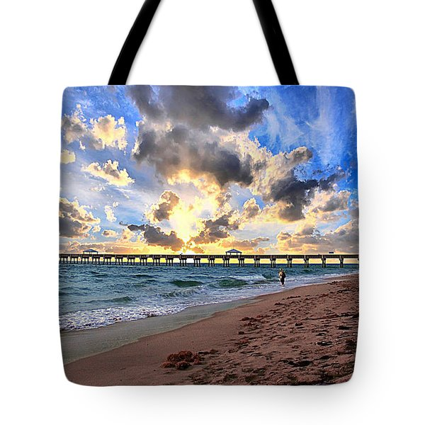 Juno Beach Pier Florida Sunrise Seascape D7 Tote Bag by Ricardos Creations