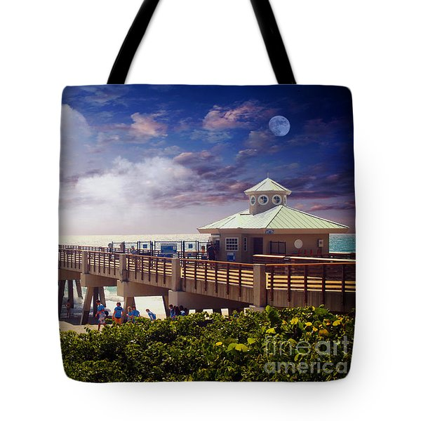 Juno Beach Pier Treasure Coast Florida Seascape Dawn C5a Tote Bag by Ricardos Creations