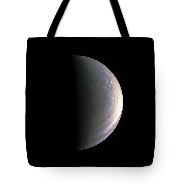 Tote Bag featuring the photograph Juno Closing In On Jupiter's North Pole by Nasa