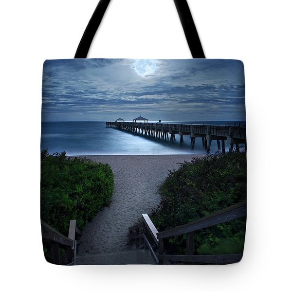 Juno Pier Stairs To Beach Under Full Moon Tote Bag