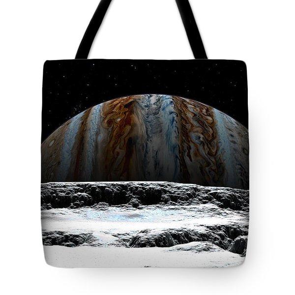 Tote Bag featuring the digital art Jupiter Rise At Europa by David Robinson