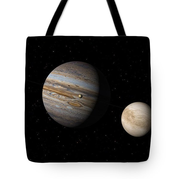 Tote Bag featuring the digital art Jupiter With Io And Europa by David Robinson