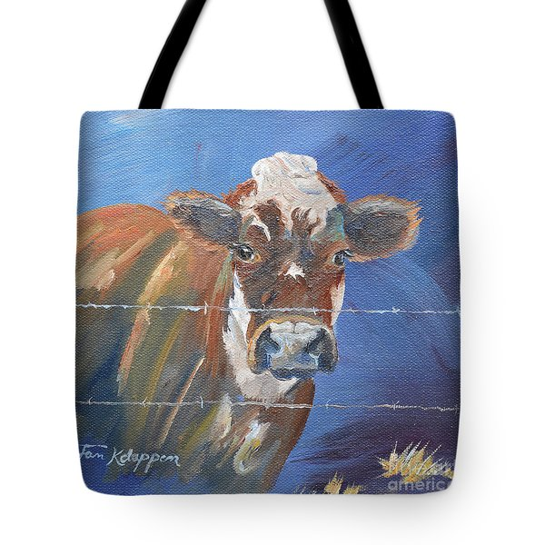Tote Bag featuring the painting Just A Big Happy Cow On A Little Square Canvas by Jan Dappen