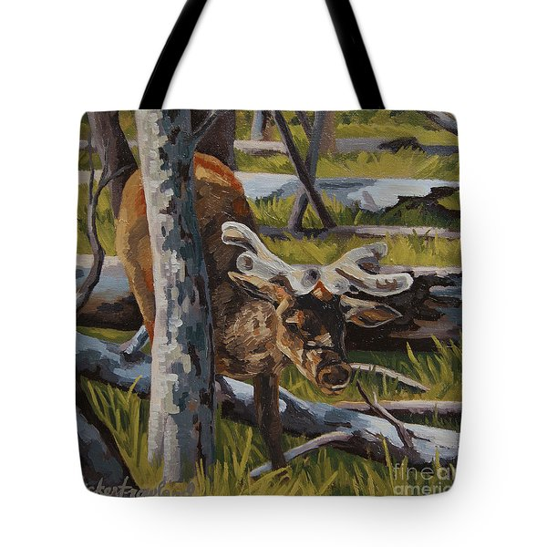 Tote Bag featuring the painting Just A Peek by Erin Fickert-Rowland