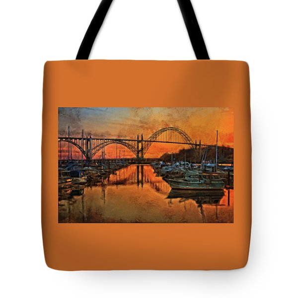 Just After Sunset On Yaquina Bay Tote Bag