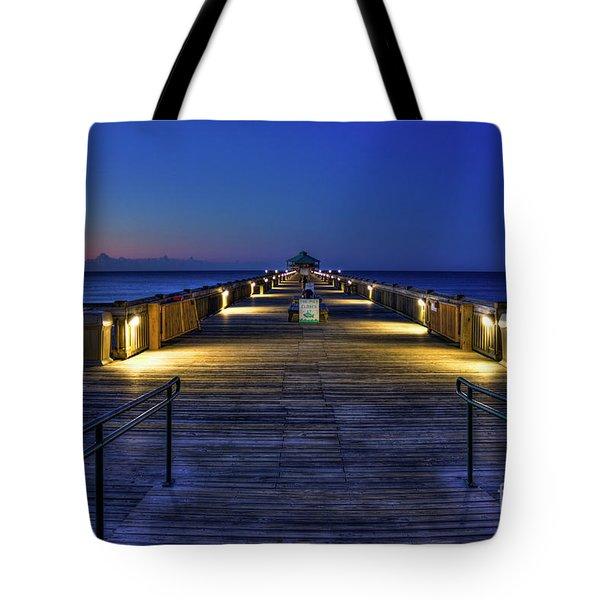 Tote Bag featuring the photograph Just Before Dawn Folly Beach Pier Charleston Sc Sunrise Art by Reid Callaway