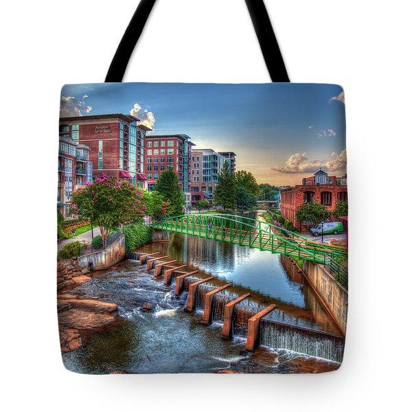 Just Before Sunset 2 Reedy River Falls Park Greenville South Carolina Art Tote Bag