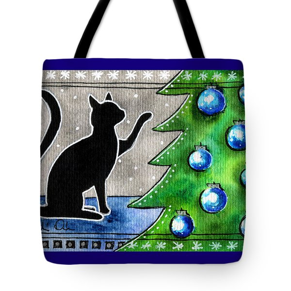Just Counting Balls - Christmas Cat Tote Bag
