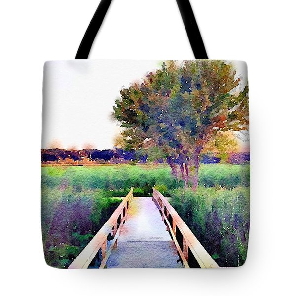 Tree And Path Tote Bag