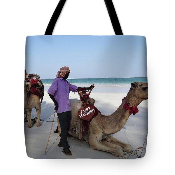 Just Married Camels Kenya Beach 2 Tote Bag