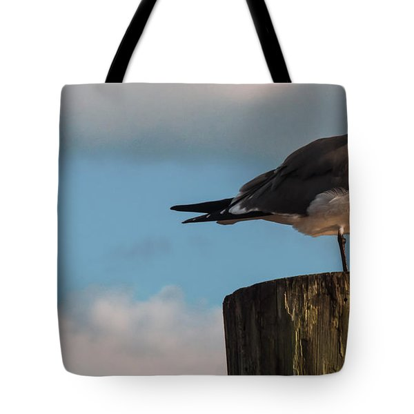 Just Standing On The Dock Tote Bag by Phillip Burrow