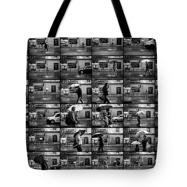 Tote Bag featuring the photograph Just Walking In The Rain #01 by Hans Janssen