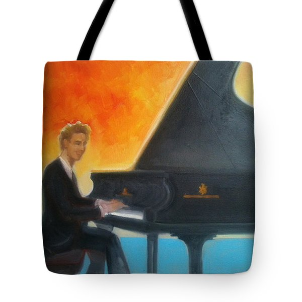 Justin Levitt At Piano Red Blue Yellow Tote Bag