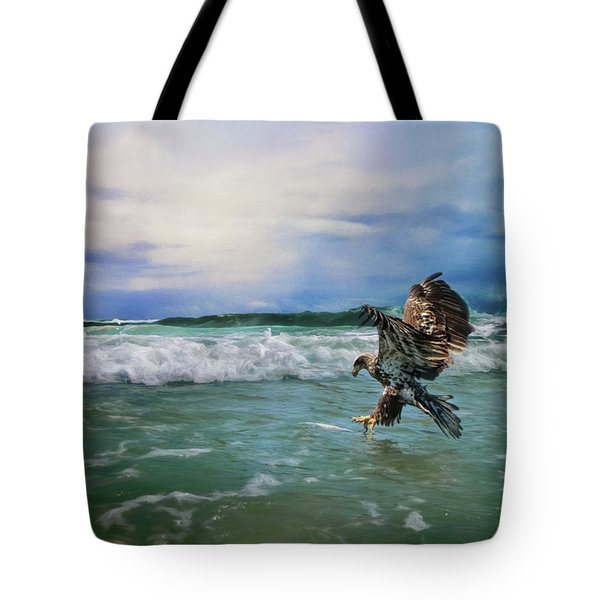 Juvenile Eagle At Sea Wildlife Art Tote Bag