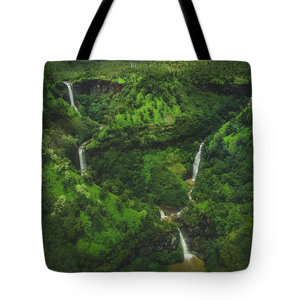 Tote Bag featuring the photograph Kahili Falls Aerial by Andy Konieczny